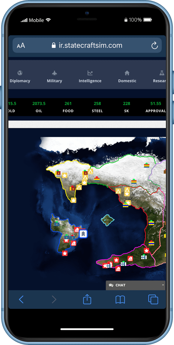 Statecraft IR World Map on a Mobile Phone