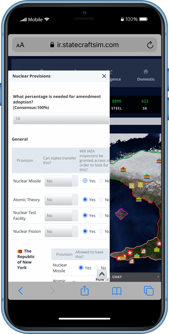 Statecraft International Organizations (IO) Game Screenshot on Mobile Phone
