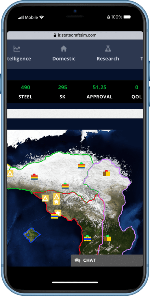 Statecraft Simulations IR World Map on a mobile phone