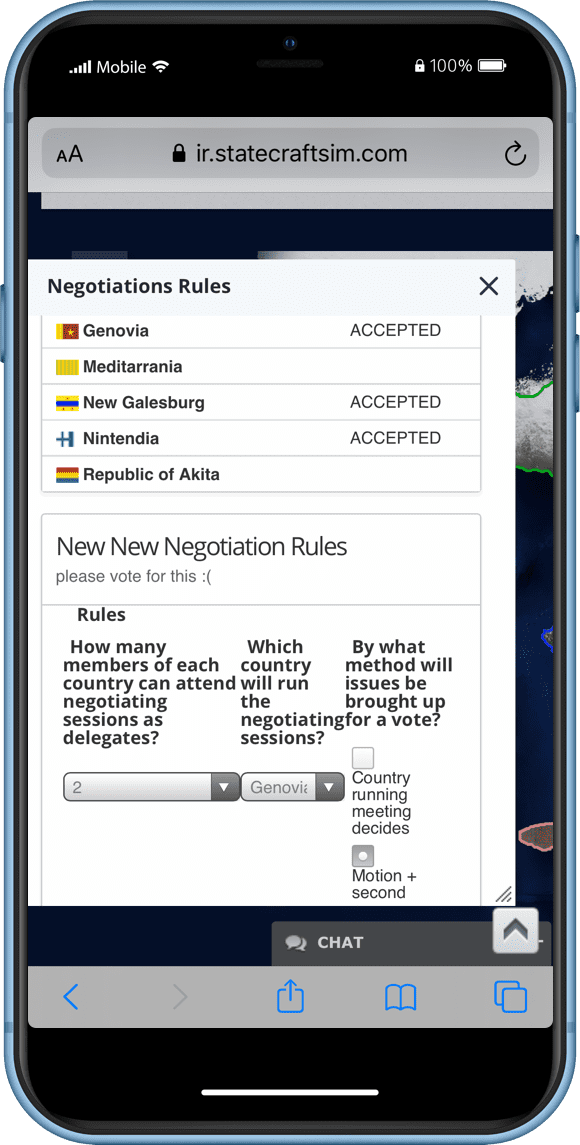 Statecraft International Organizations (IO) Game Screenshot on Mobile Phone